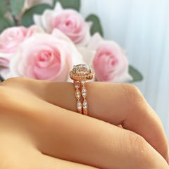 2.25 ctw Art Deco Halo Set - Rose GP