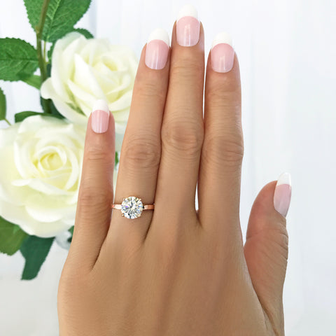2 ct 4 Prong Stacking Solitaire Ring - Rose GP