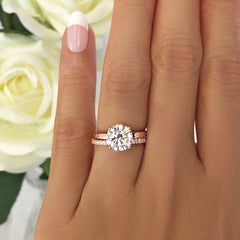 2 ct 4 Prong Stacking Solitaire Set - Rose GP