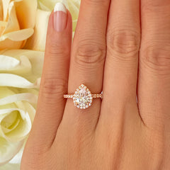 1.5 ctw Pear Halo Ring - 10k Solid Rose Gold