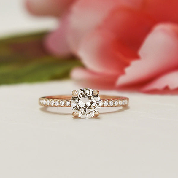 1.25 ctw Round Accented Ring - Rose GP