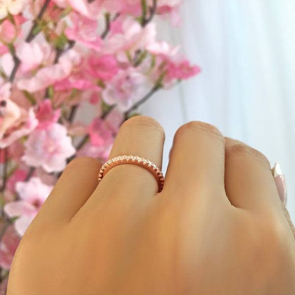1/3 ctw Small Full Eternity Band - 10k Solid Rose Gold