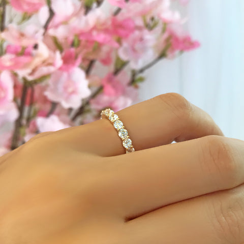 2 ctw Classic Full Eternity Band - 10k Yellow Gold, Sz 5