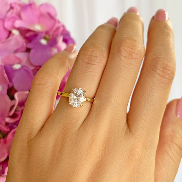 2 ct Oval Classic Solitaire Ring - 10k Solid Yellow Gold, Sz 6