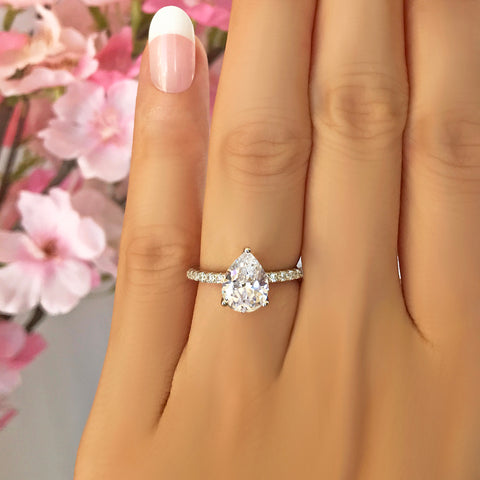 3 ct Pear Solitaire Ring