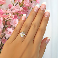 2.25 ctw Oval Halo Ring - 10k Solid Rose Gold