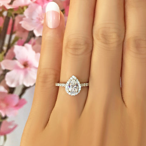 1.5 ctw Pear Halo Ring - Rose GP