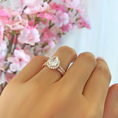 2.5 ctw Pear Halo Bridal Set- Rose GP