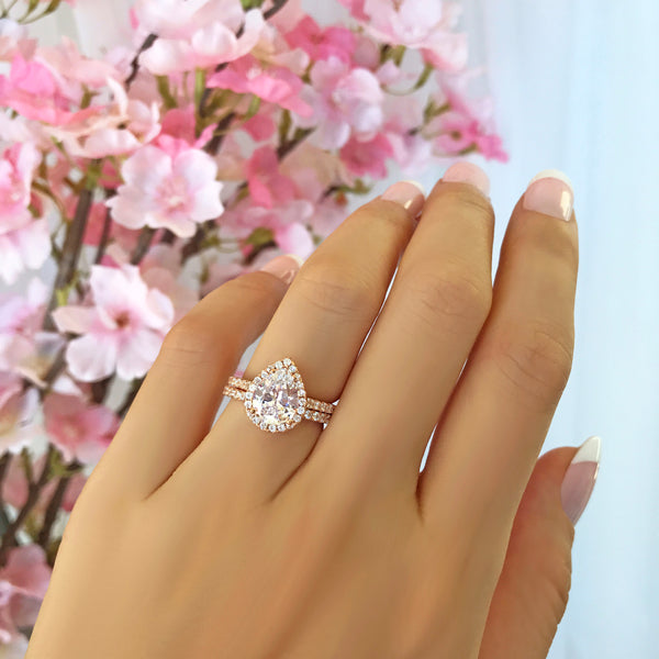 2.5 ctw Pear Halo Set- Rose GP