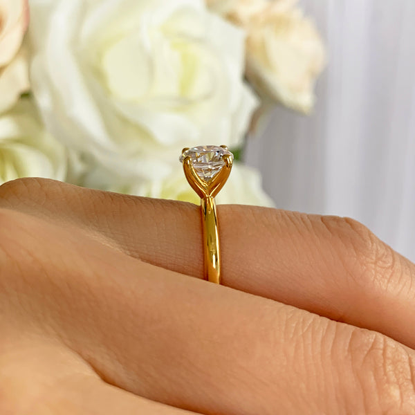2 ct Classic V Style 4 Prong Solitaire Ring - Yellow GP