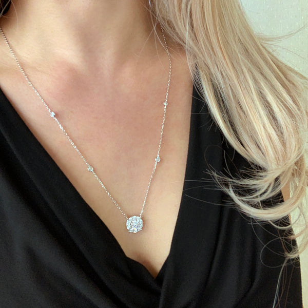 2 ctw Round Halo Necklace - 40% Final Sale