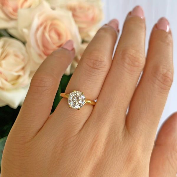 2 ct Classic V Style 6 Prong Solitaire Ring - Yellow GP