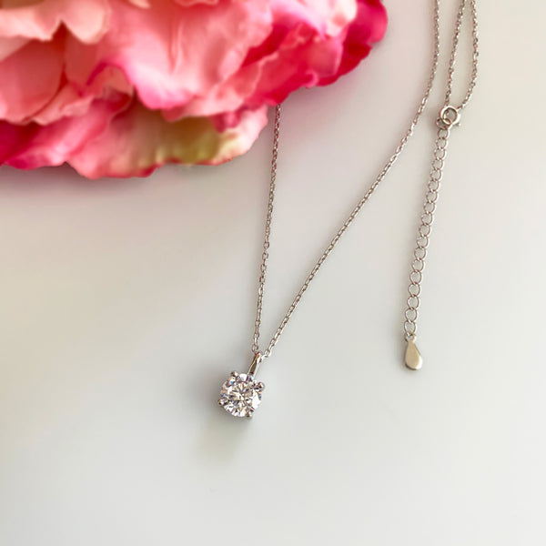 2 ct Round Solitaire Necklace - 40% Final Sale