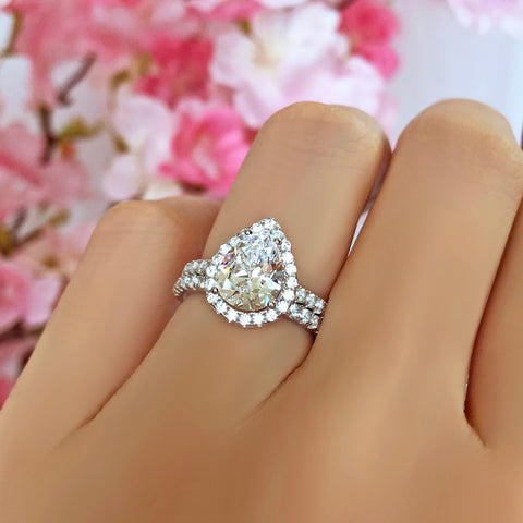 1.5 ctw Micropave Pear Halo Ring - 40% Final Sale, Sz 8 or 8.75