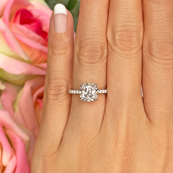 2.25 ctw Cushion Accented Solitaire Ring