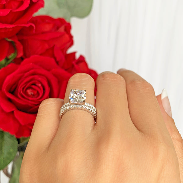 2.25 ctw Cushion Cut Accented Solitaire Set