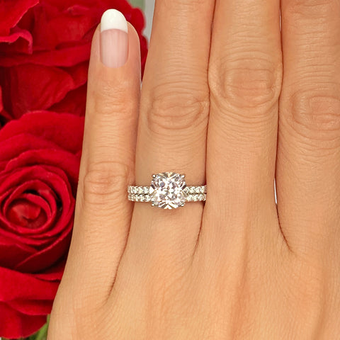 2 ct Round Solitaire Set, Sz 10