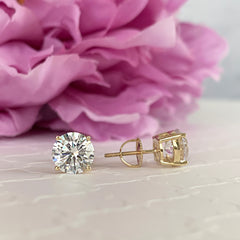 4 ctw 4 Prong Stud Earrings - 10k Solid Yellow Gold