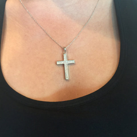 4 Stone Small Cross Necklace
