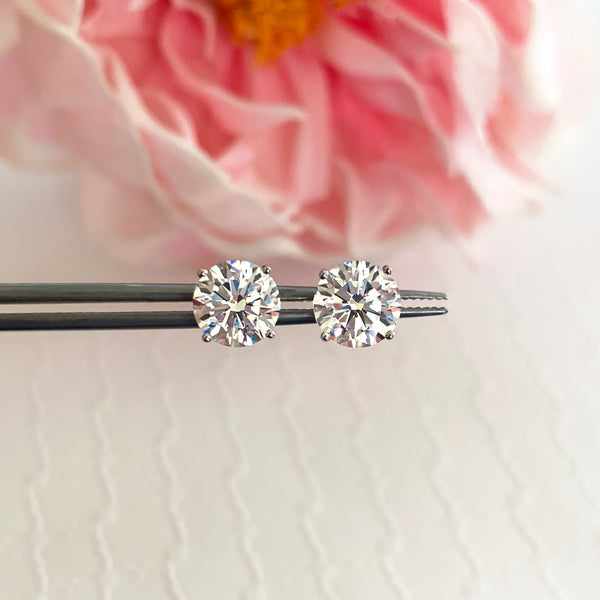 4 ctw 4 Prong Stud Earrings - 10k Solid White Gold