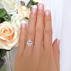 2.5 ctw Art Deco Pear Halo Bridal Set- Rose GP
