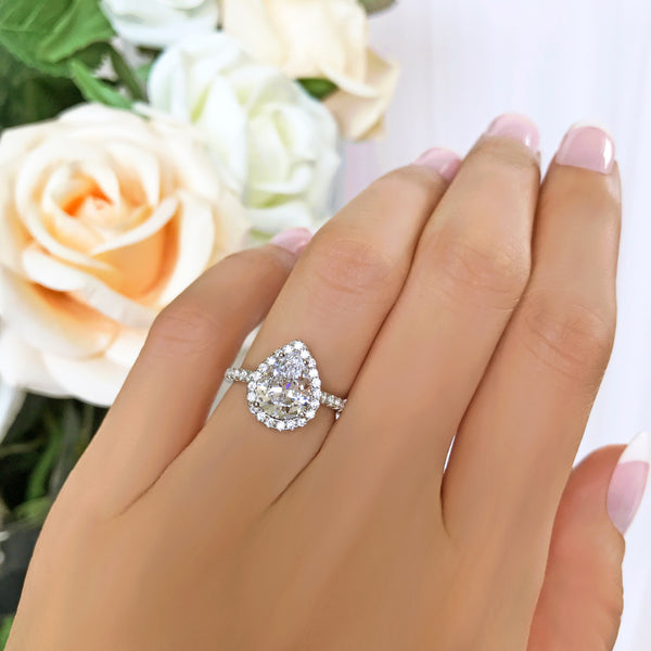 2.5 ctw Pear Halo Ring - 10k Solid White Gold