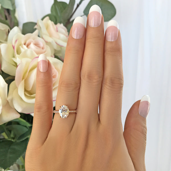 2.25 ctw Oval Accented Solitaire Ring - Rose GP