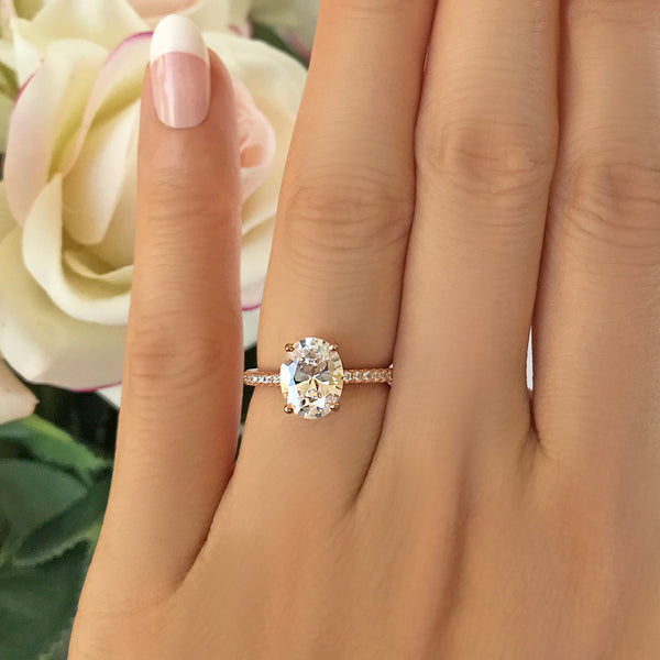 64199d03e7140 2.25 ctw Oval Accented Solitaire Engagement Ring - Rose Gold – Tiger ...