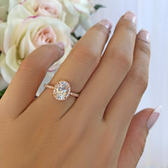 1.5 ctw Oval Halo Ring - Rose GP