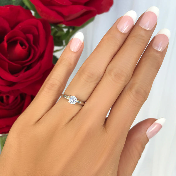 1/2 ct Solitaire Ring - 14k White Gold