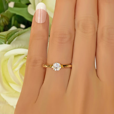 2 ct 4 Prong Solitaire Ring - 10k Solid Rose Gold