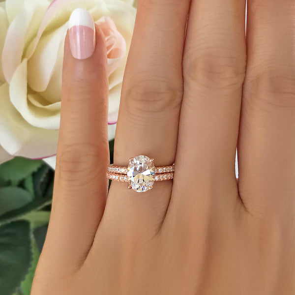 2.25 ctw Oval Accented Solitaire Set- Rose GP