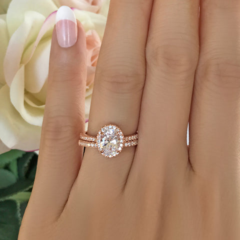 3/4 ctw Art Deco Half Eternity Halo Set - Rose GP
