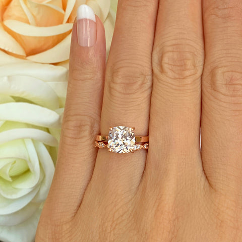 3 ct 4 Prong Stacking Solitaire Ring - Rose GP