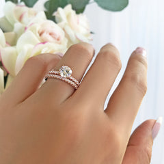 1.25 ctw Round Accented Solitaire Set - Rose GP