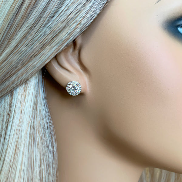 2 ctw Round Halo Stud Earrings