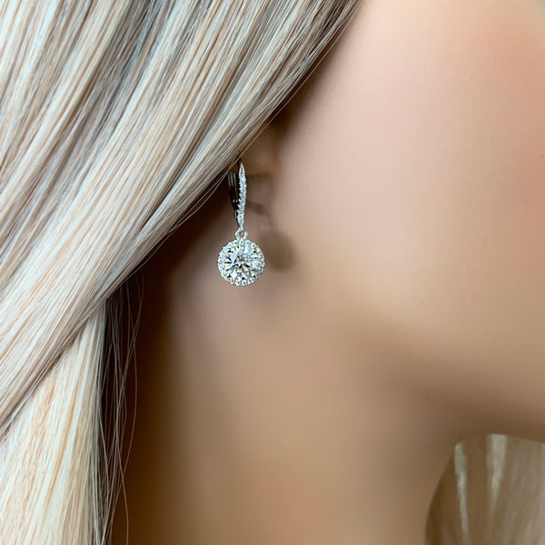 2 ctw Round Dangle Halo Earrings