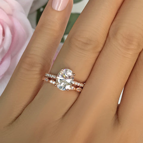 2.25 ctw Oval Accented Solitaire Ring