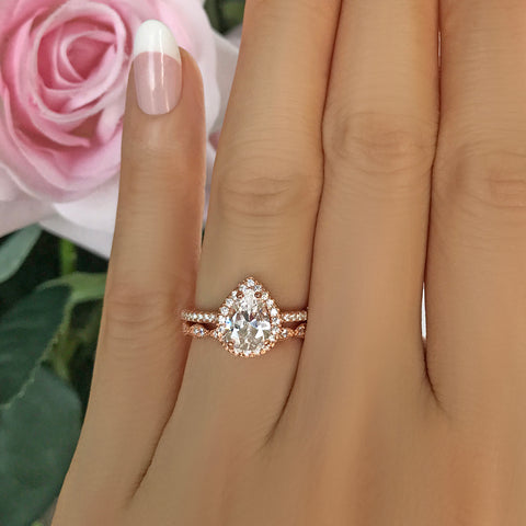 10 ctw Hollywood Pear Halo Ring - 60% Final Sale