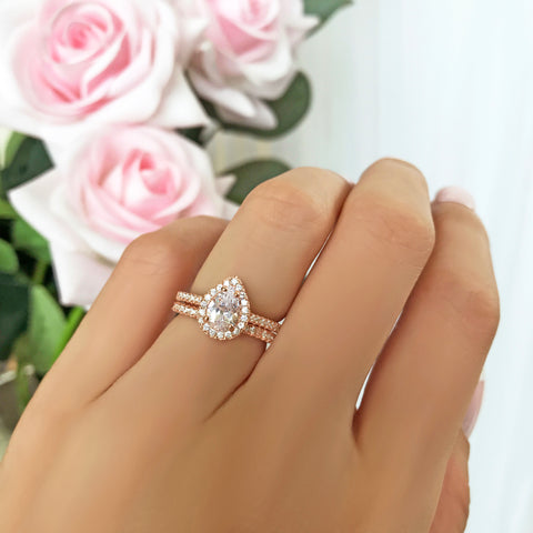 1.5 ctw Pear Halo Set - Rose GP