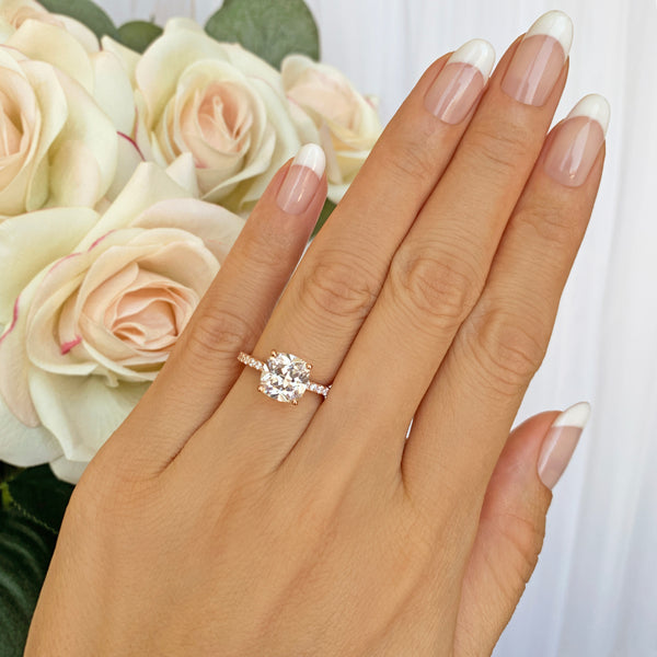 2.25 ctw Cushion Cut Accented Solitaire Ring - Rose GP