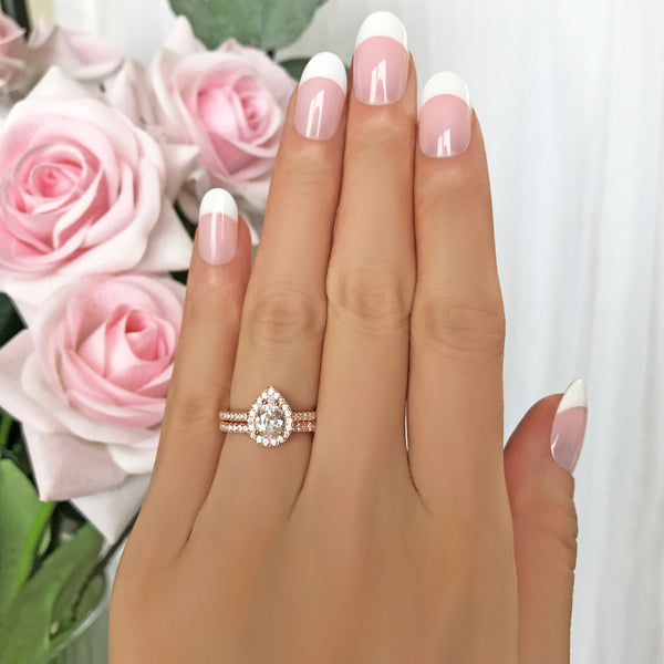 1 ctw Pear Halo Half Eternity Set - Rose GP