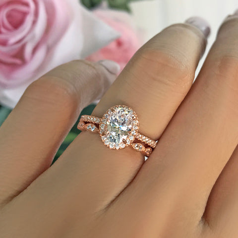 1 ctw Oval Half Eternity Halo Set- Rose GP