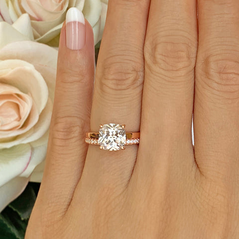 2.25 ctw 6 Prong Round Accented Solitaire Set