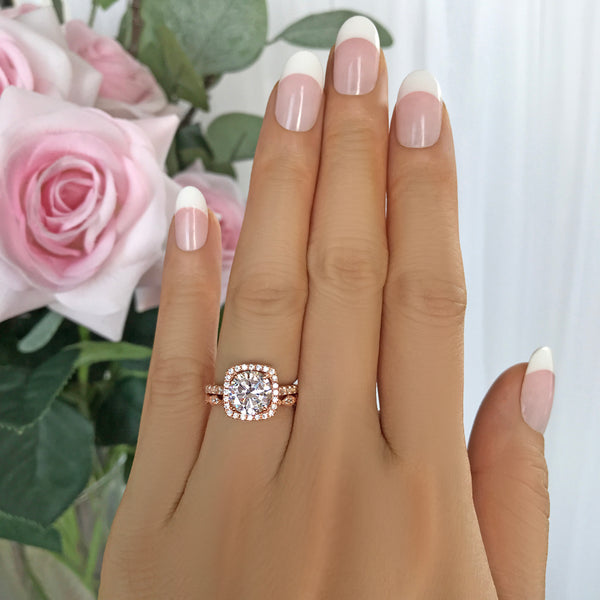 2.25 ctw Art Deco Square Halo Set - Rose GP