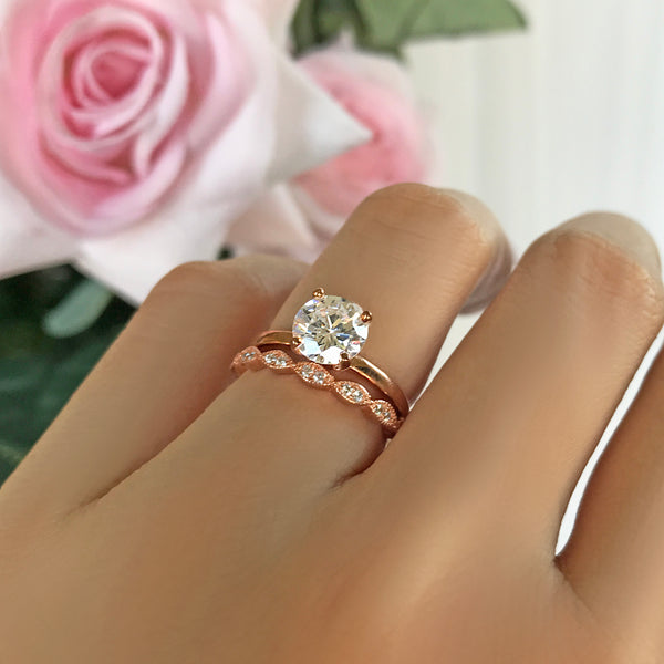1 ct 4 Prong Art Deco Solitaire Set - Rose GP