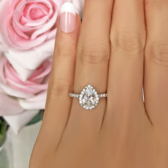 1.5 ctw Pear Halo Ring