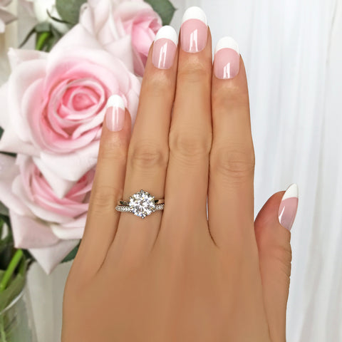 3 ct 6 Prong Stacking Solitaire Ring