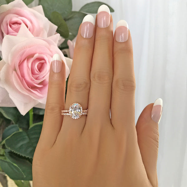 2.25 ctw Oval Half Eternity Halo Set - Rose GP
