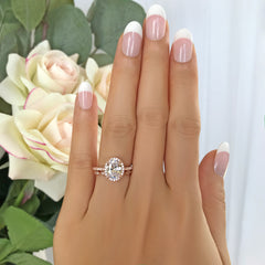 2.25 ctw Art Deco Oval Halo Set - Rose GP